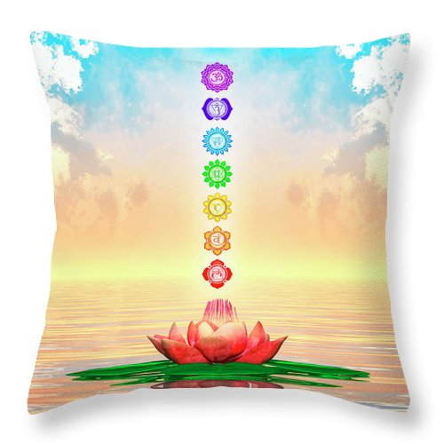 Sacred Lotus The Seven Chakras First Edition Throw Pillow For Sale
