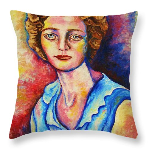 Portraits Throw Pillow featuring the painting Sad Eyes by Carole Spandau