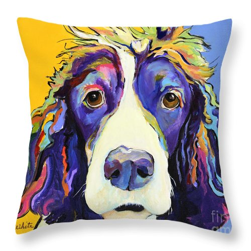 Blue Throw Pillow featuring the painting Sadie by Pat Saunders-White