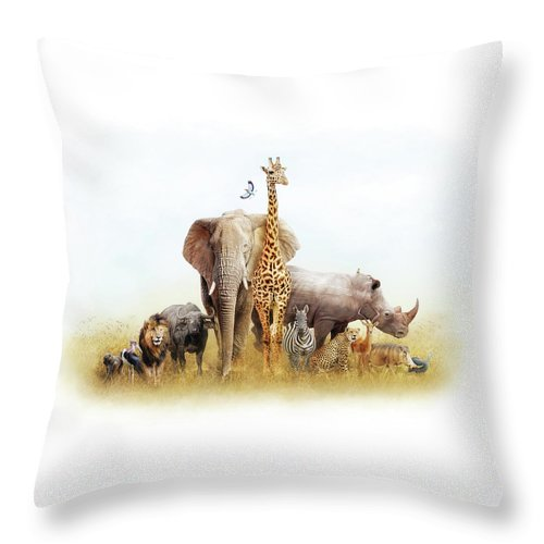 Animal Throw Pillow featuring the photograph Safari Animals In Africa Composite by Susan Schmitz