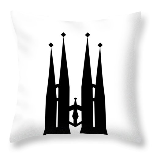 Throw Pillow featuring the mixed media Sagrada Familia by Asbjorn Lonvig