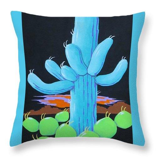 Cactus Throw Pillow featuring the painting Saguaro Sunset by Carol Sabo