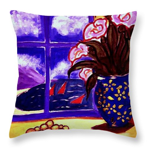 Contemporary Throw Pillow featuring the painting Sailing By by Rusty Gladdish