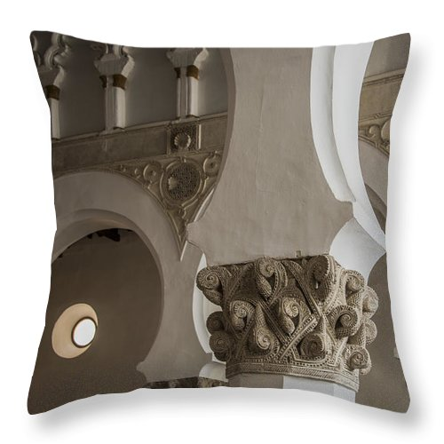 Synagogue Throw Pillow featuring the photograph Santa Maria La Blanca Synagogue - Toledo Spain by Jon Berghoff