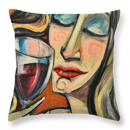 Wine Throw Pillow featuring the painting Savoring The First Sip by Tim Nyberg