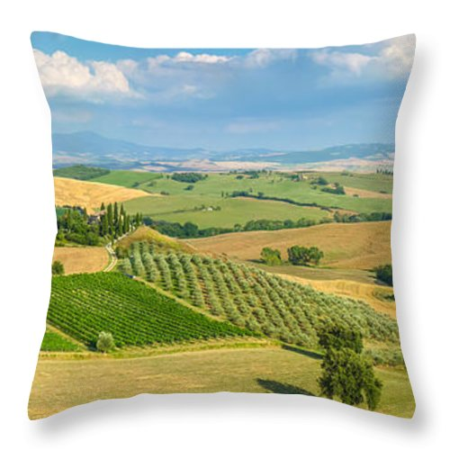 Agriculture Throw Pillow featuring the photograph Scenic Tuscany Landscape At Sunset, Val D'orcia, Italy by JR Photography
