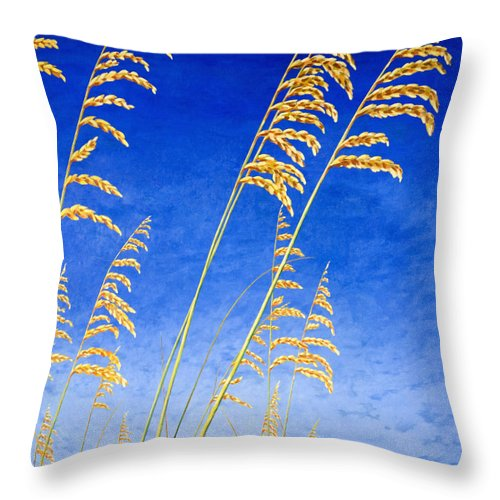 Sea Oats Throw Pillow featuring the painting Sea Oats by Blaine Filthaut