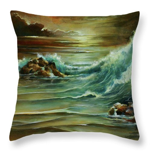 Seascape Throw Pillow featuring the painting Seascape by Michael Lang