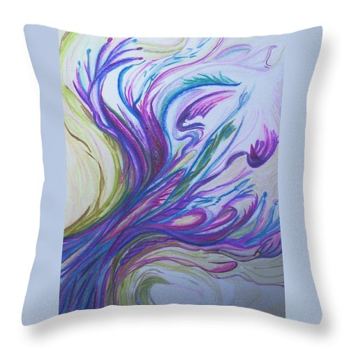 Abstract Throw Pillow featuring the painting Seaweedy by Suzanne Udell Levinger