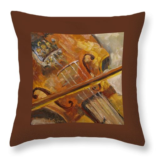 Violin Throw Pillow featuring the painting Secondhand Violin by Susan Elizabeth Jones