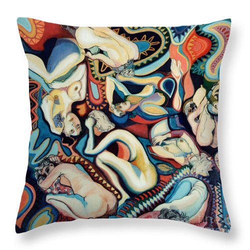 Painting Throw Pillow featuring the painting Secret Thoughts by Kerryn Madsen- Pietsch