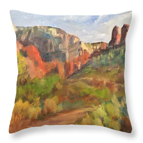 Sedona Throw Pillow featuring the painting Sedona Afternoon by Marilyn Froggatt