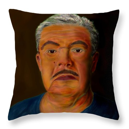 Selfportrait Throw Pillow featuring the painting Selfportrait by Helmut Rottler