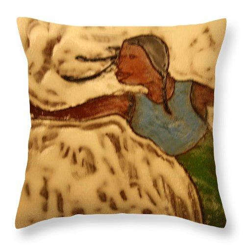 Jesus Throw Pillow featuring the ceramic art Selma - Tile by Gloria Ssali