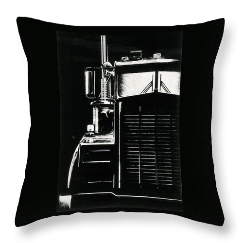 Vehicle Throw Pillow featuring the drawing Semi by Barbara Keith