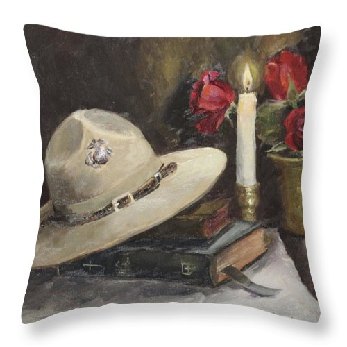 Drill Sergeant's Hat Throw Pillow featuring the painting Semper Fi by Pamela Nichols
