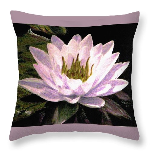 Mauve Water Lily Drawings Throw Pillow featuring the drawing Serenity by Angela Davies