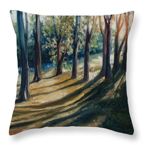Trees Throw Pillow featuring the painting Shadows by Rick Nederlof