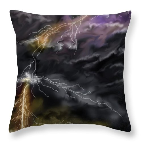 Seascape Throw Pillow featuring the painting Shock And Awe by Anne Norskog