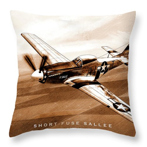 Short Fuse Sallee Throw Pillow featuring the digital art Short-fuse Sallee by Gary Bodnar