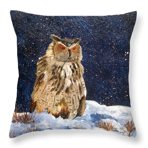 Owl Throw Pillow featuring the painting Siberian Eagle Owl by Tami Booher