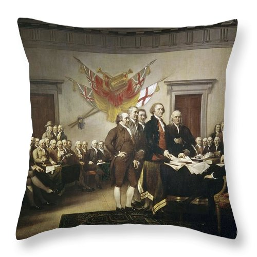 Signing Throw Pillow featuring the painting Signing The Declaration Of Independence by John Trumbull