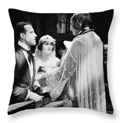 -weddings & Gowns- Throw Pillow featuring the photograph Silent Film Still: Wedding by Granger