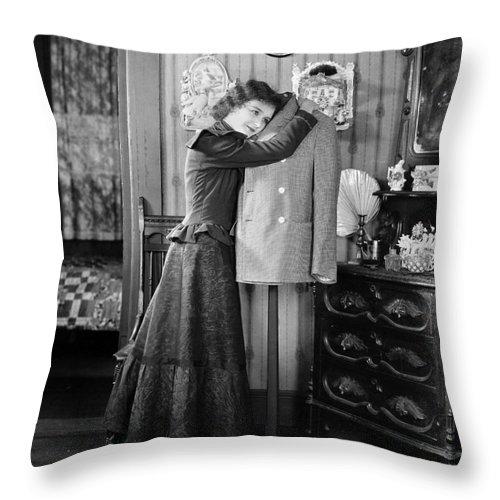 -women Single Figures- Throw Pillow featuring the photograph Silent Film Still: Woman by Granger