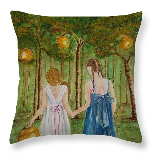 Lanterns Throw Pillow featuring the painting Sisters At Twilight by Tamyra Crossley