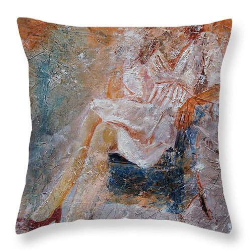 Girl Throw Pillow featuring the painting Sitting Young Girl by Pol Ledent