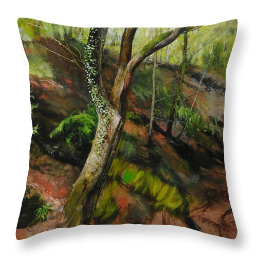Landscape Throw Pillow featuring the painting Sketch Of A Treetrunk by Harry Robertson
