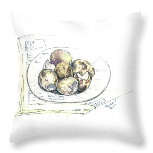 Sketches Throw Pillow featuring the drawing Sketches by Yana Sadykova