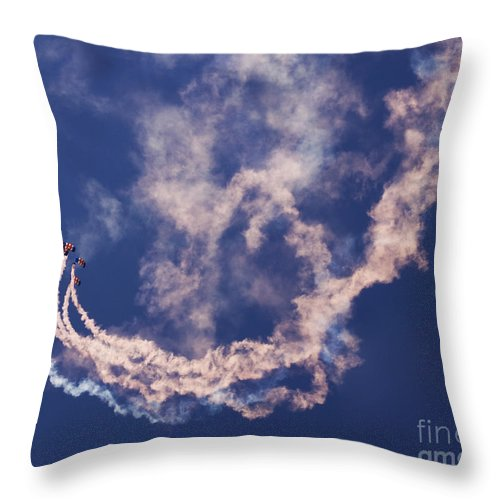 Raf Falcons Throw Pillow featuring the photograph Skydivers by Angel Ciesniarska