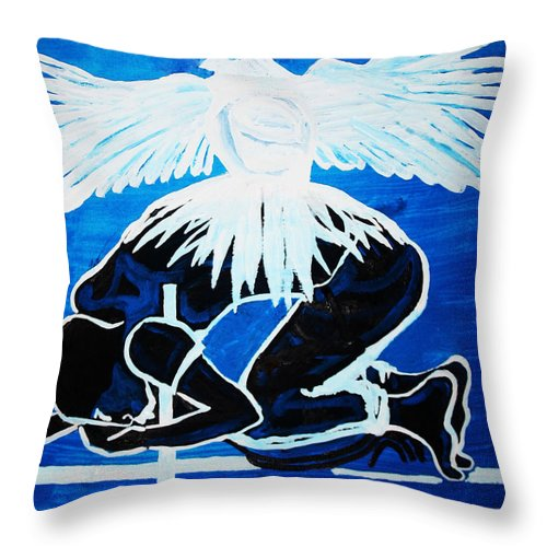 Jesus Throw Pillow featuring the painting Slain In The Holy Spirit by Gloria Ssali