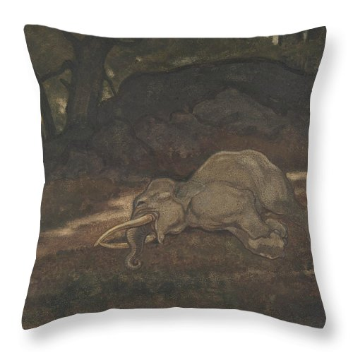 19th Century Art Throw Pillow featuring the drawing Sleeping Elephant by Antoine-Louis Barye