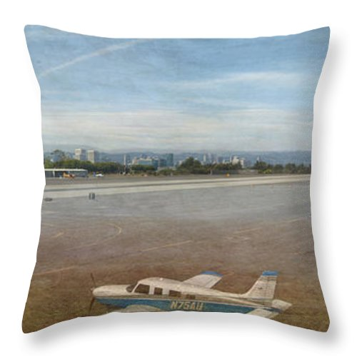 Small City Airport Planes Taking Off Fine Art Photograph Digital Watercolor Texture Overlay Throw Pillow featuring the photograph Small City Airport Plane Taking Off by David Zanzinger