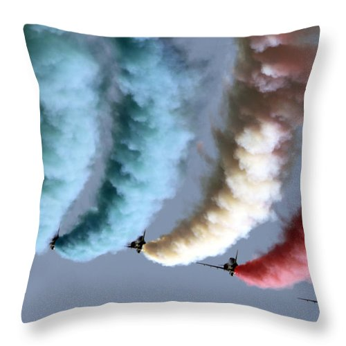 Red Arrows Throw Pillow featuring the photograph Smoke Painting by Angel Ciesniarska
