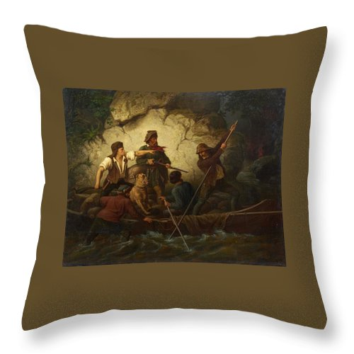 Ernst Bosch Throw Pillow featuring the painting Smuggler In A Boat by Ernst Bosch