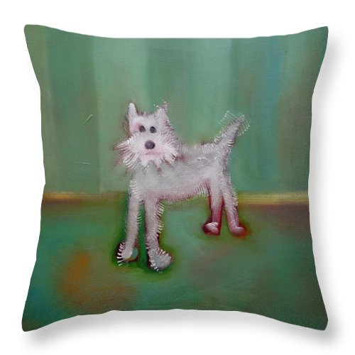 White Puppy Throw Pillow featuring the painting Snowy by Charles Stuart