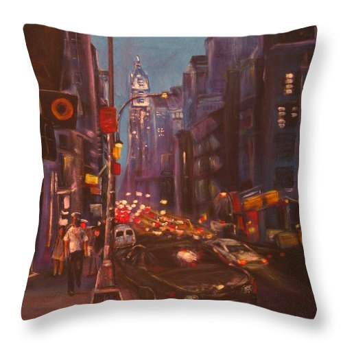 New York Throw Pillow featuring the painting Soho Artistic Dreams by Dennis Tawes