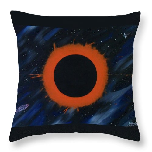 Astronomy Throw Pillow featuring the painting Solar Eclipse by Paul F Labarbera