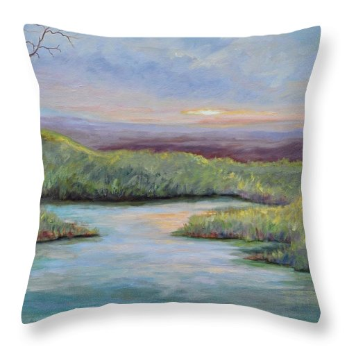 Lone Trees Throw Pillow featuring the painting Soledad by Ginger Concepcion