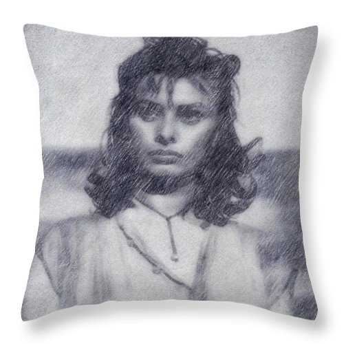 Hollywood Throw Pillow featuring the drawing Sophia Loren by John Springfield