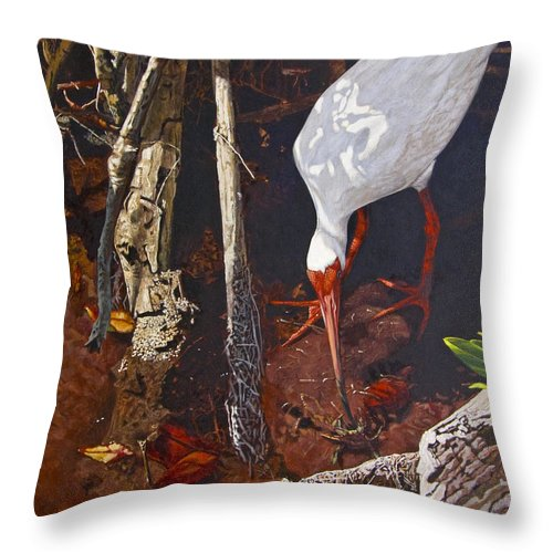 Waterfowl Throw Pillow featuring the painting Sparring For Lunch by Peter Muzyka
