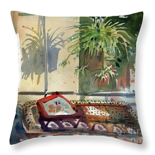 Spider Plant Throw Pillow featuring the painting Spider Plant In The Window by Donald Maier