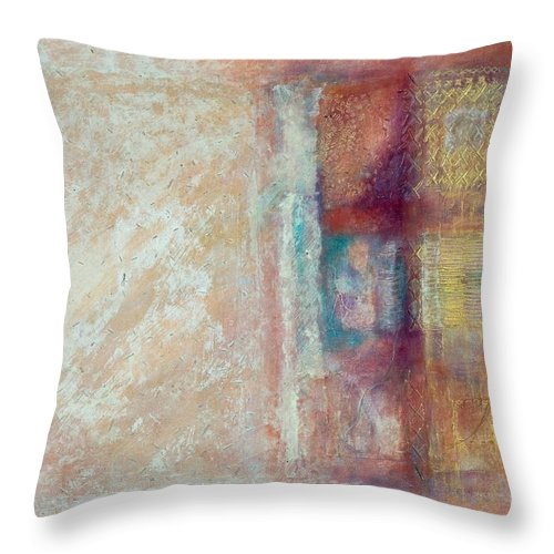 Mixed-media Throw Pillow featuring the painting Spirit Matter Cosmos by Kerryn Madsen-Pietsch