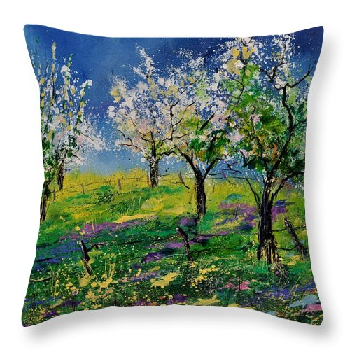 Landscape Throw Pillow featuring the painting Spring 79 by Pol Ledent