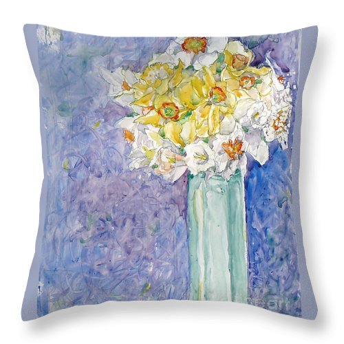 Watercolor Throw Pillow featuring the painting Spring Blossoms by Jan Bennicoff