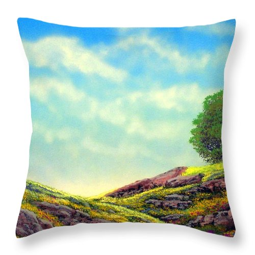 Landscape Throw Pillow featuring the painting Spring Day by Frank Wilson