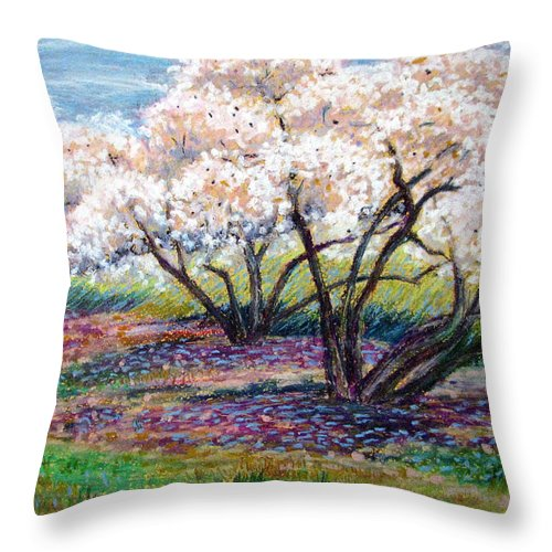 Oil Pastel Throw Pillow featuring the painting Spring Has Sprung by Art Nomad Sandra Hansen